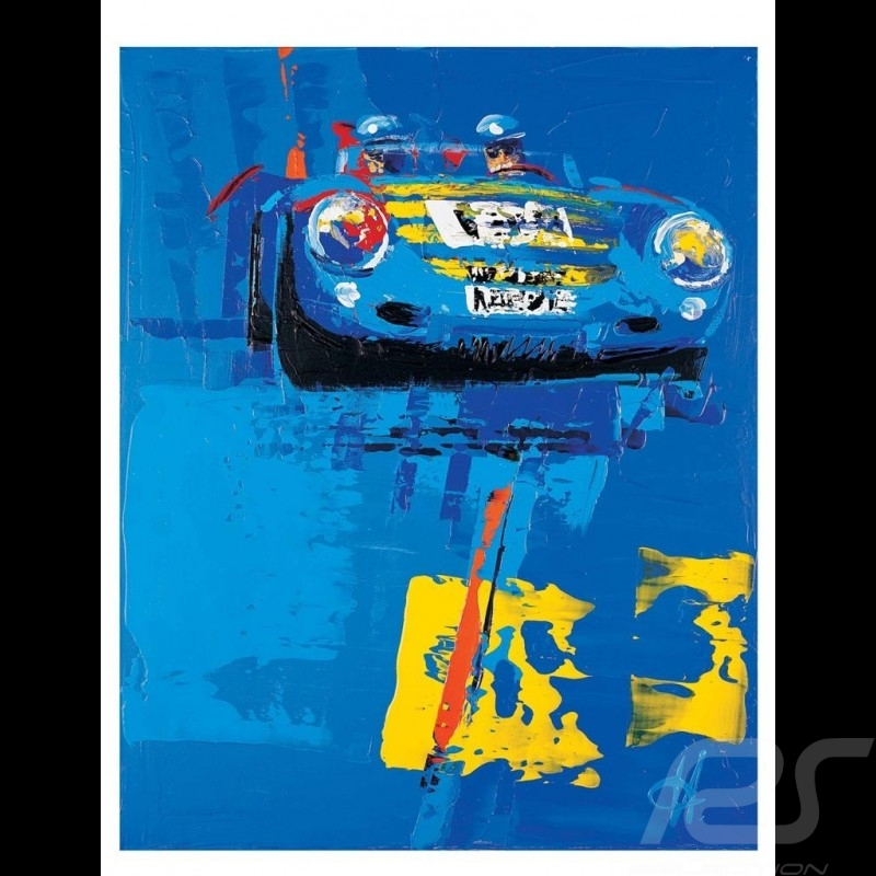 Porsche 550 spyder blue Mille Miglia 2003 Reproduction of an Uli Hack original painting