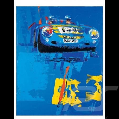 Porsche 550 spyder blue Mille Miglia 2003 Reproduction of an Uli Hack original painting