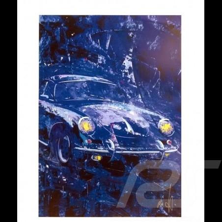 Porsche 356 State of Art Belgique Bleue Reproduction d'une peinture originale de Uli Hack