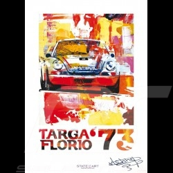 Porsche 911 Carrera RSR Targa Florio 1973 signature Reproduction d'une peinture originale de Uli Hack