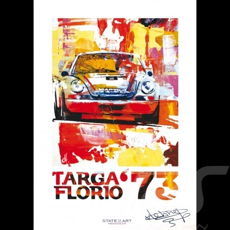 Porsche 911 Carrera RSR Targa Florio 1973 signature Reproduction of an Uli Hack original painting