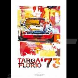 Porsche 911 Carrera RSR Vainqueur Targa Florio 1973 Reproduction d'une peinture originale de Uli Hack