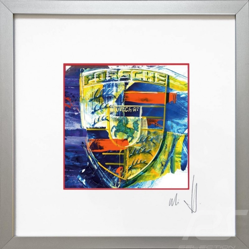 Porsche crest in colour Uli Hack Christophorus Edition 30 x 30 Aluminum frame