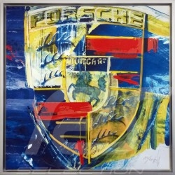 Porsche crest in colour Uli Hack 85 x 85 Aluminum frame