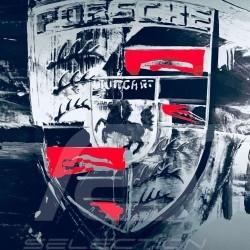 Ecusson Porsche Crest Wappen couleur Aluminium Uli Hack 75 x 75