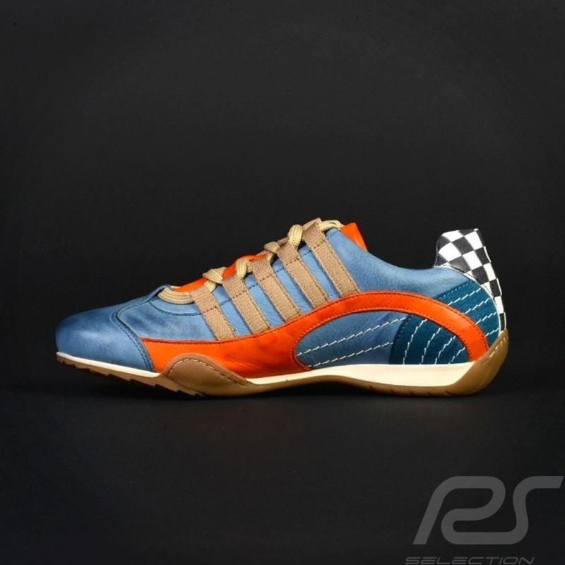 Sneaker / basket shoes style race driver Gulf blue - women