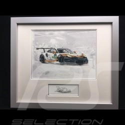 Porsche 991 GT3 RSR n° 91 Le Mans 2019 wood frame aluminum with black and white sketch Limited edition Uli Ehret - 804 91