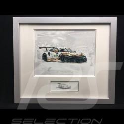 Porsche 991 GT3 RSR n° 92 Le Mans 2019 cadre bois alu avec esquisse noir et blanc Edition limitée Uli Ehret - 804 92