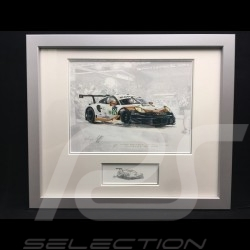 Porsche 991 GT3 RSR n° 92 Le Mans 2019 wood frame aluminum with black and white sketch Limited edition Uli Ehret - 804 92