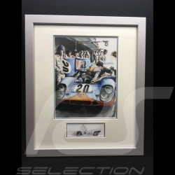 Porsche 917 K Gulf n° 20 Mc Queen Le Mans 1970 wood frame aluminum with black and white sketch Limited edition Uli Ehret - 324
