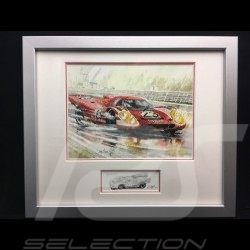 Porsche 917 K Winner Le Mans 1970 n° 23 wood frame aluminum with black and white sketch Limited edition Uli Ehret - 105