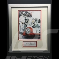 Porsche 919 Hybrid n° 2 winner Le Mans 2017 wood frame aluminum with black and white sketch Limited edition Uli Ehret - 688
