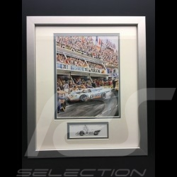Porsche 917 k Gulf n° 20 LM 1970 Siffert McQueen wood frame aluminum with black and white sketch Limited edition Uli Ehret - 318