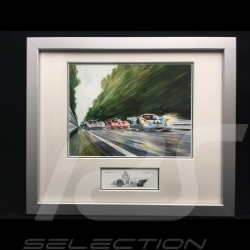 Porsche 917 K Gulf n°20 et 21 LM under the rain wood frame aluminum with black and white sketch Limited edition Uli Ehret - 111