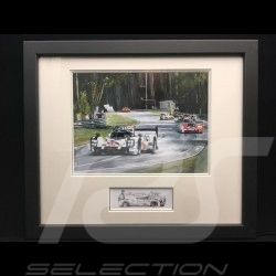 Porsche 919 Hybrid winner Le Mans 2015 wood frame aluminum with black and white sketch Limited edition Uli Ehret - 551