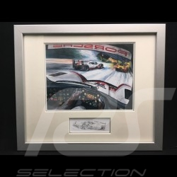 Porsche 919 Hybrid Le Mans 2017 from cockpit wood frame aluminum with black and white sketch Limited edition Uli Ehret - 676