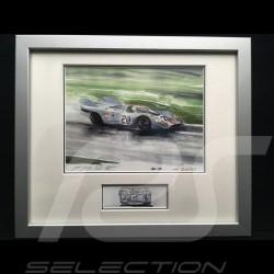 Porsche 917 Gulf n° 20 LM 1970 McQueen Siffert Aluminium Rahmen mit Schwarz-Weiß Skizze Limitierte Auflage Uli Ehret - 27