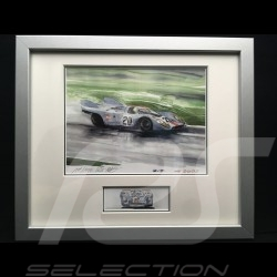 Porsche 917 Gulf n° 20 LM 1970 McQueen Siffert wood frame aluminum with black and white sketch Limited edition Uli Ehret - 27