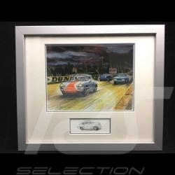Porsche 356 Gulf im Rennen Aluminium Rahmen mit Schwarz-Weiß Skizze Limitierte Auflage Uli Ehret - 261