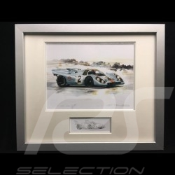 Porsche 917 K Gulf n° 2 Sieger 24h Daytona 1971 Aluminium Rahmen mit Schwarz-Weiß Skizze Limitierte Auflage Uli Ehret - 238