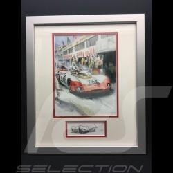 Porsche 908 /02 n° 266 Vainqueur Winner Sieger Targa Florio 1969 cadre bois alu avec esquisse noir et blanc Edition limitée Uli