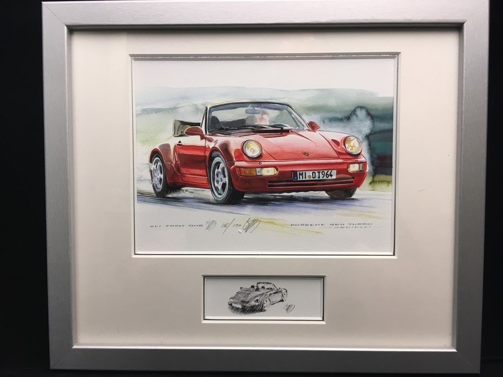 Porsche 911 Type 964 Turbo Cabriolet Red Wood Frame Aluminum With Black And White Sketch Limited Edition Uli Ehret 599 Selection Rs