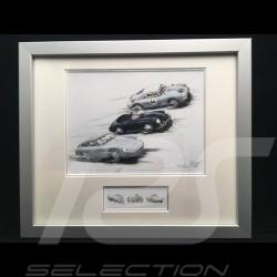 Porsche 356 Carerra Abarth, Speedster et 550 Coupe cadre bois alu avec esquisse noir et blanc Edition limitée Uli Ehret - 118