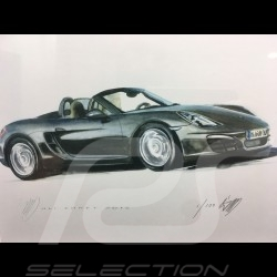 Porsche Boxter 981 black wood frame aluminum with black and white sketch Limited edition Uli Ehret - 545