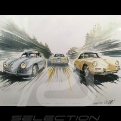 Porsche 356 Carrera / Cabriolet / 356 LM 1951 wood frame aluminum with black and white sketch Limited edition Uli Ehret - 199