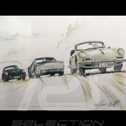 Porsche 356 Cabriolet, 904 GTS and 356 coupé wood frame aluminum with black and white sketch Limited edition Uli Ehret - 196