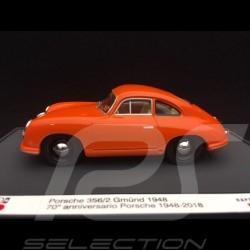 Porsche 356 /2 Gmünd 1948 orange 70ème anniversaire 70th anniversary 70-jähriges Jubiläum Porsche 1/43 Brumm S1830