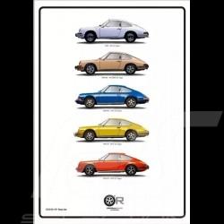 Poster Porsche 911 Classic Silhouettes 50 x 70 cm