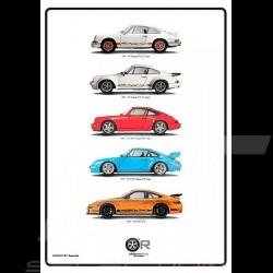 Poster Porsche 911 Exclusive Silhouettes 50 x 70 cm