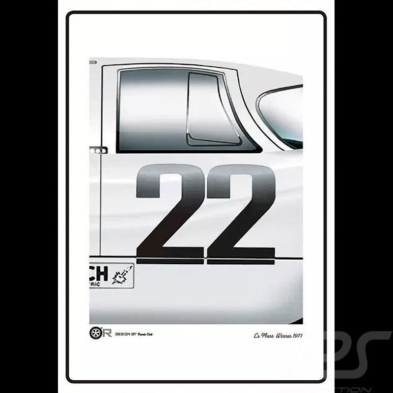 Porsche 917 n° 22 Le Mans 1971 Martini poster 50 x 70 cm
