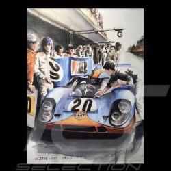 Porsche Poster 917 K Mc Queen Le Mans 1970 n° 20 - Reproduction imprimée d'une peinture de Uli Ehret - 324 - sur toile canvas le