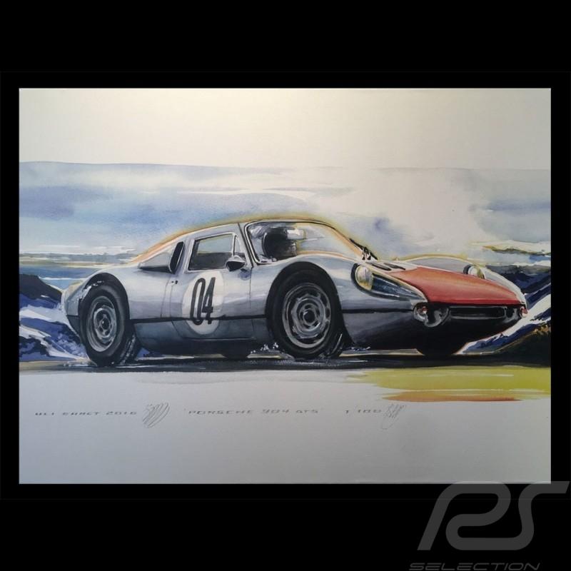 Porsche 904 GTS top of mountain on canvas 60 x 90 cm Limited edition Uli Ehret - 591