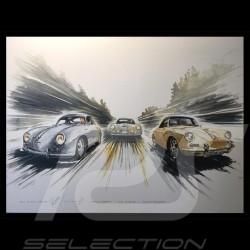 Porsche Poster 356 Trio Stuttgart Le Mans auf Leinwand 60 x 80 cm Limitierte Auflage Uli Ehret - 199