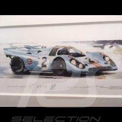 Porsche 917 K Gulf n° 2 Winner 24h Daytona 1971 wood frame aluminum 20 x 52 cm Limited edition Uli Ehret - 238