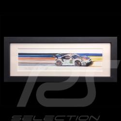 Porsche 991 RSR Brumos 24h le Mans 2019 cadre bois alu 20 x 52 cm Edition limitée Uli Ehret