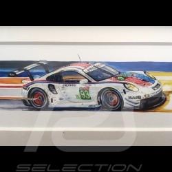 Porsche 991 RSR Brumos 24h le Mans 2019 wood frame aluminum 20 x 52 cm Limited edition Uli Ehret