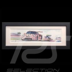 Porsche 991 RSR Cochon rose 24h le Mans 2018 cadre bois noir 20 x 52 cm Edition limitée Uli Ehret - 750