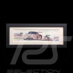 Porsche 991 RSR Cochon rose 24h le Mans 2018 cadre bois noir 15 x 35 cm Edition limitée Uli Ehret - 750