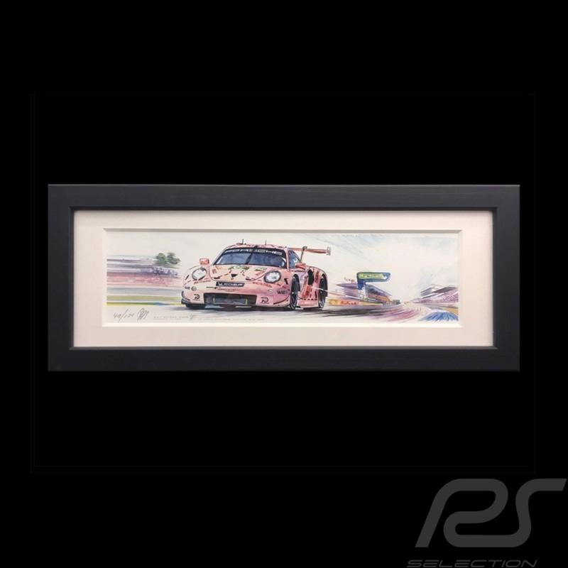 Porsche 991 RSR Pink pig 24h le Mans 2018 wood frame black 15 x 35 cm Limited edition Uli Ehret - 750