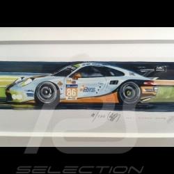Porsche 991 RSR Gulf Racing 24h le Mans 2018 wood frame alu 15 x 35 cm Limited edition Uli Ehret - 750