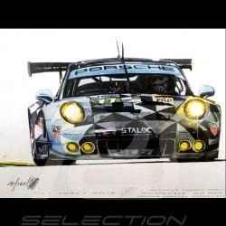 Porsche 991 GT3 RSR n° 77 Dempsey Proton 2016 Aluminium Rahmen mit Schwarz-Weiß Skizze Limitierte Auflage Uli Ehret - 618