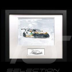 Porsche 991 GT3 RSR n° 91 Le Mans 2019 Aluminium Rahmen 40 x 50 cm mit Schwarz-Weiß Skizze Limitierte Auflage Uli Ehret - 804 91