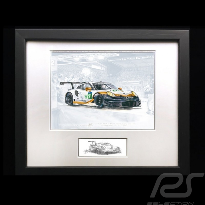 Porsche 991 GT3 RSR n° 91 Le Mans 2019 aluminum frame 40 x 50 cm with black and white sketch Limited edition Uli Ehret - 804 91