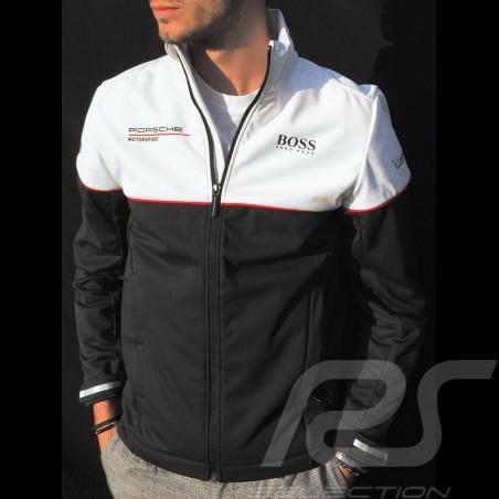 Veste Hugo Boss Porsche Motorsport Softshell noir / blanc WAP435LMS - homme jacket Jacke windbreaker
