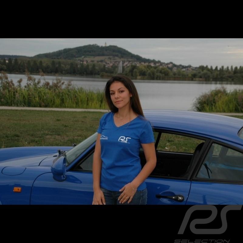 T-shirt femme col v bleu royal RS Club