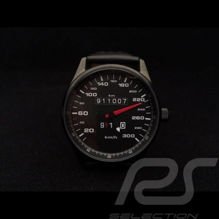 Montre compteur de vitesse Porsche 911 300 km/h boitier noir / fond noir / chiffres blancs Watch Uhr